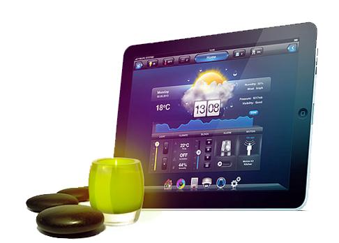 tableau-bord-commande-eclairage-intelligent-chauffage-domotique-maison-intelligente