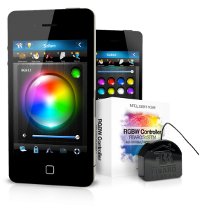 Led RGBW Controller Fibaro, permet de contrôler les sources lumineuse LED 12 et 24 volts depuis smartphone tablettes et ordinateur.
